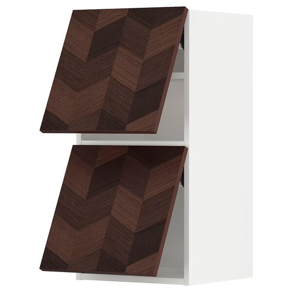 METOD Wall cab horizo 2 doors w push-open, white Hasslarp/brown patterned, 40x80 cm