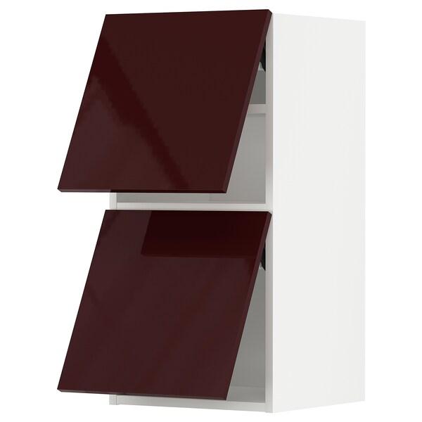 METOD Wall cab horizo 2 doors w push-open, white Kallarp/high-gloss dark red-brown, 40x80 cm