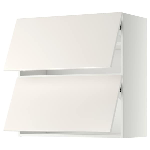 METOD Wall cab horizo 2 doors w push-open, white/Veddinge white, 80x80 cm