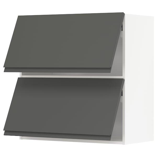METOD Wall cab horizo 2 doors w push-open, white/Voxtorp dark grey, 80x80 cm