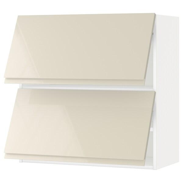 METOD Wall cab horizo 2 doors w push-open, white/Voxtorp high-gloss light beige, 80x80 cm
