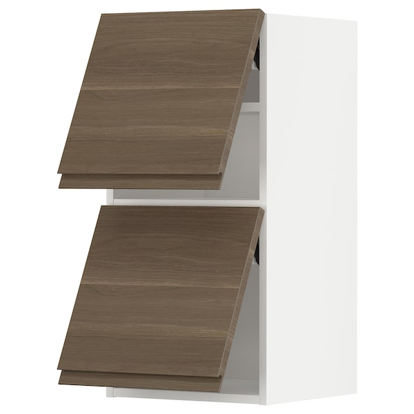 METOD Wall cab horizo 2 doors w push-open, white/Voxtorp walnut effect, 40x80 cm