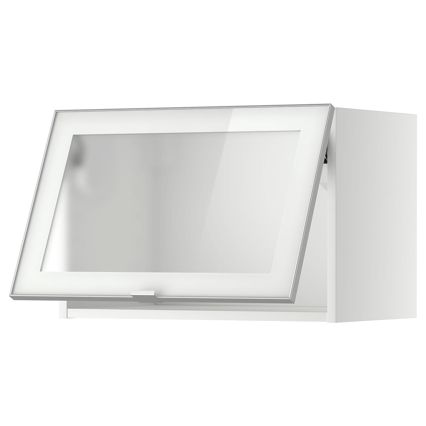 METOD Wall cab horizontal w glass door - white, Jutis frosted glass 14x14 cm