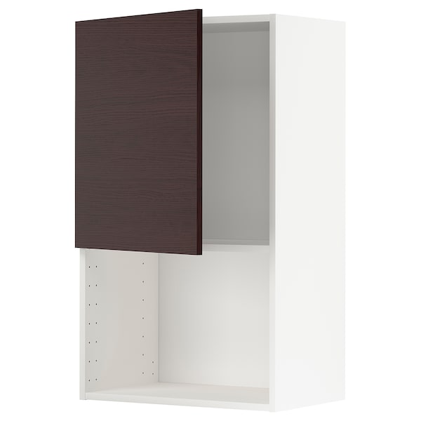 METOD Wall cabinet for microwave oven, white Askersund/dark brown ash effect, 60x100 cm