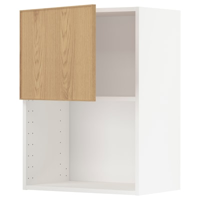 METOD Wall cabinet for microwave oven, white/Ekestad oak, 60x80 cm