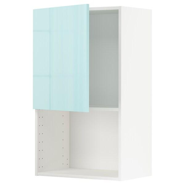 METOD Wall cabinet for microwave oven, white Järsta/high-gloss light turquoise, 60x100 cm