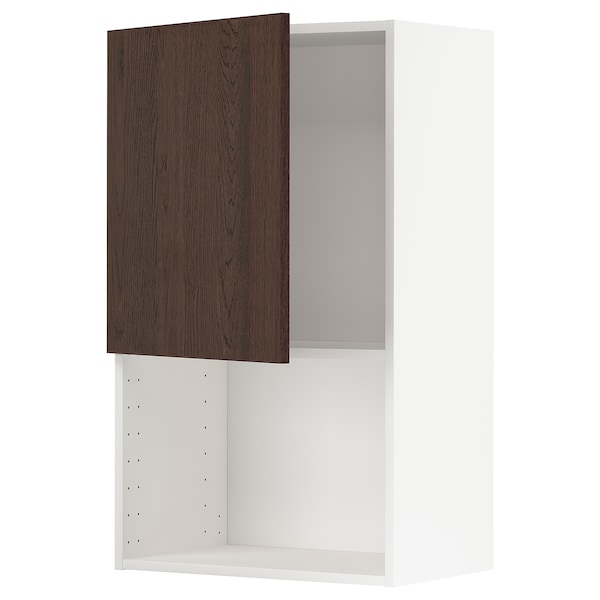 METOD Wall cabinet for microwave oven, white/Sinarp brown, 60x100 cm