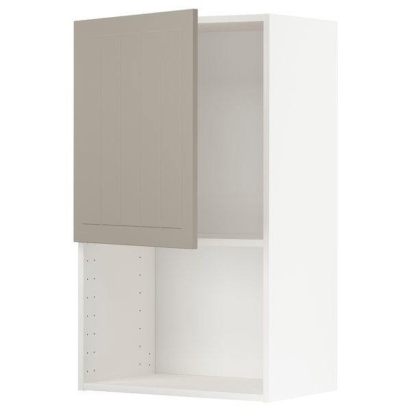 METOD Wall cabinet for microwave oven, white/Stensund beige, 60x100 cm