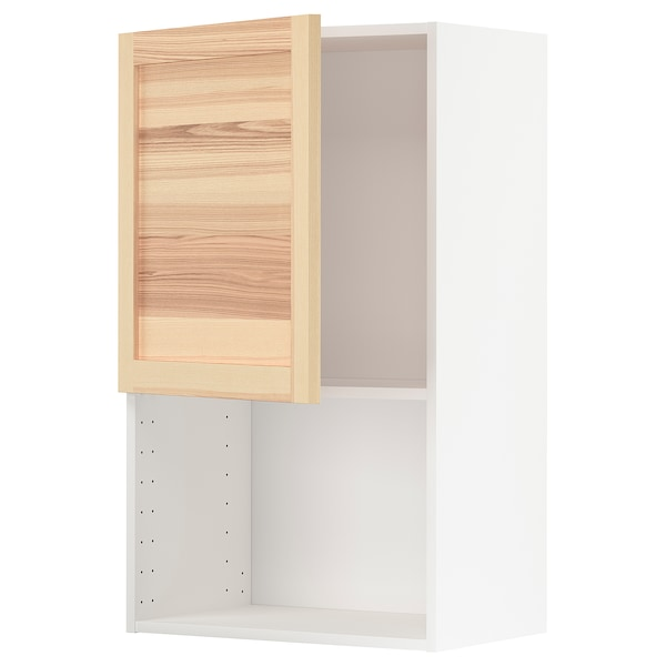 METOD Wall cabinet for microwave oven, white/Torhamn ash, 60x100 cm