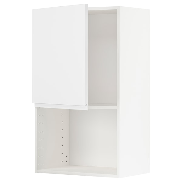METOD Wall cabinet for microwave oven, white/Voxtorp matt white, 60x100 cm