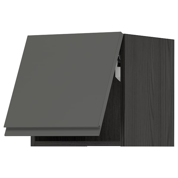 METOD Wall cabinet horizontal, black/Voxtorp dark grey, 40x40 cm