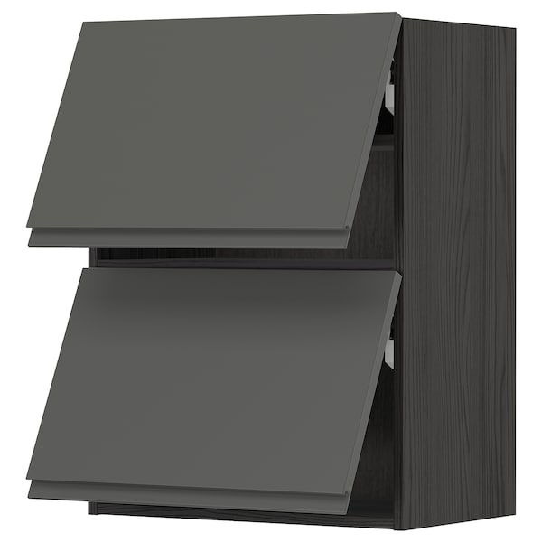 METOD wall cabinet horizontal w 2 doors black/Voxtorp dark grey 60.0 cm 39.1 cm 80.0 cm