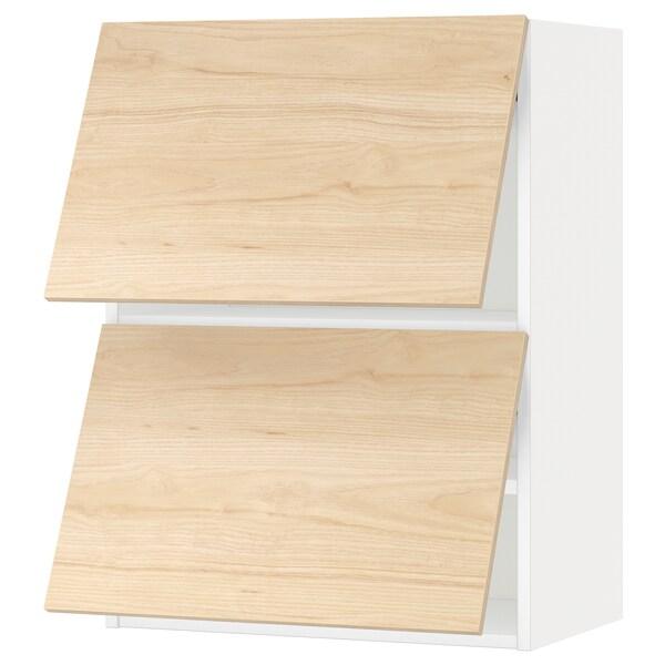 METOD خزانة حائط أفقية مع بابين زجاجية, أبيض/Askersund مظهر دردار خفيف, 60x80 سم
