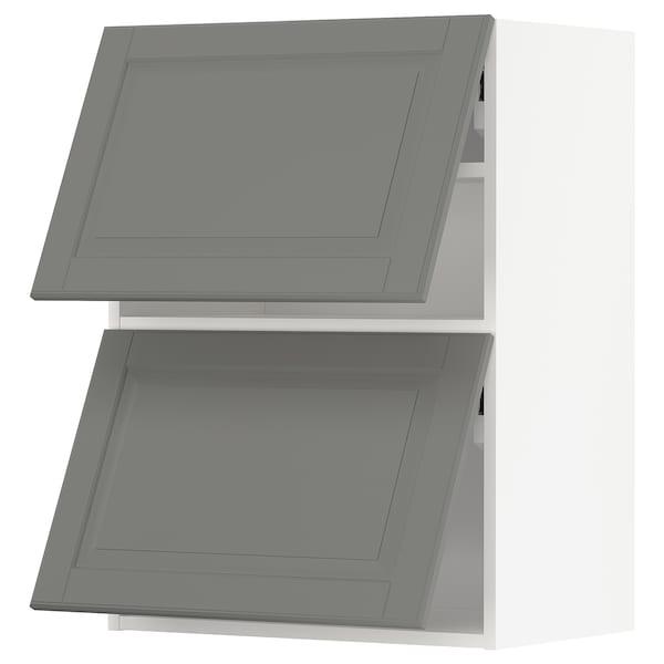 METOD خزانة حائط أفقية مع بابين زجاجية, أبيض/Bodbyn رمادي, 60x80 سم