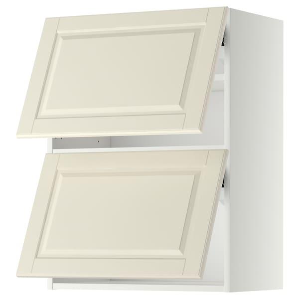 METOD خزانة حائط أفقية مع بابين زجاجية, أبيض/Bodbyn أبيض-عاجي, 60x80 سم