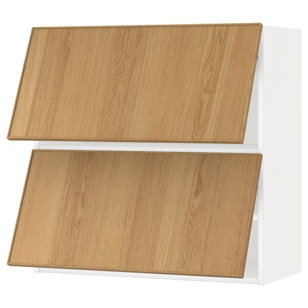 METOD خزانة حائط أفقية مع بابين زجاجية, أبيض/Ekestad سنديان, 80x80 سم