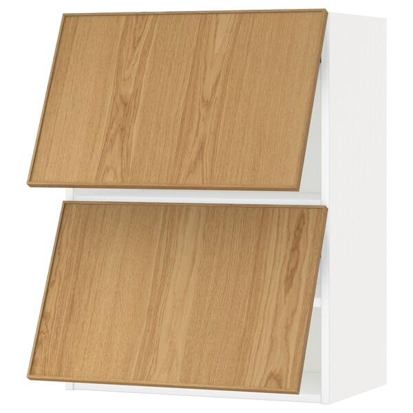 METOD خزانة حائط أفقية مع بابين زجاجية, أبيض/Ekestad سنديان, 60x80 سم