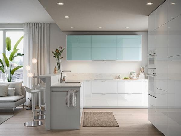 METOD خزانة حائط أفقية مع بابين زجاجية, أبيض Järsta/لامع تركواز فاتح, 60x80 سم