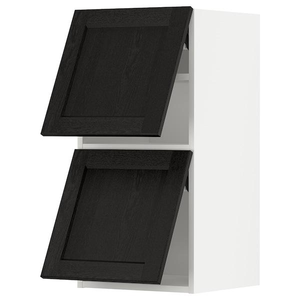 METOD خزانة حائط أفقية مع بابين زجاجية, أبيض/Lerhyttan صباغ أسود, 40x80 سم