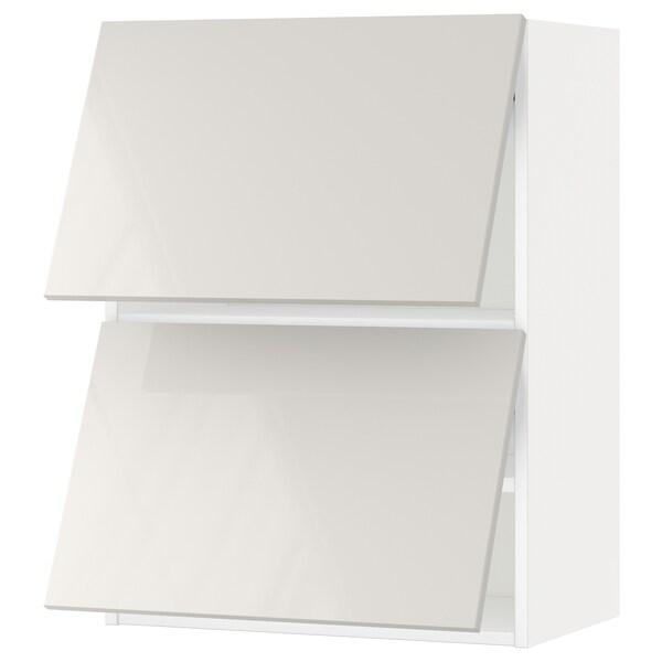 METOD خزانة حائط أفقية مع بابين زجاجية, أبيض/Ringhult رمادي فاتح, 60x80 سم