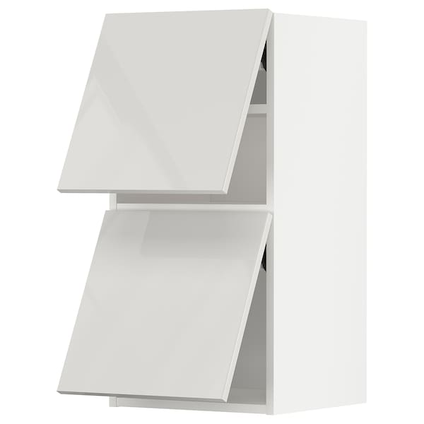 METOD خزانة حائط أفقية مع بابين زجاجية, أبيض/Ringhult رمادي فاتح, 40x80 سم
