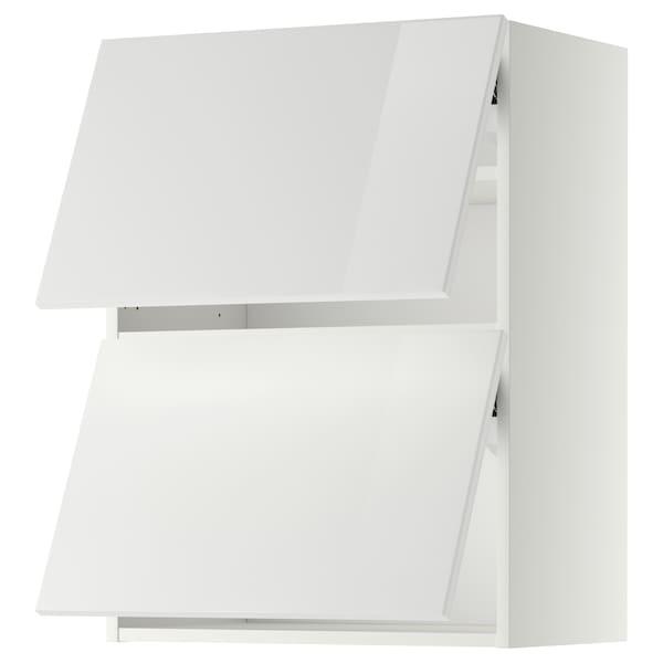 METOD خزانة حائط أفقية مع بابين زجاجية, أبيض/Ringhult أبيض, 60x80 سم