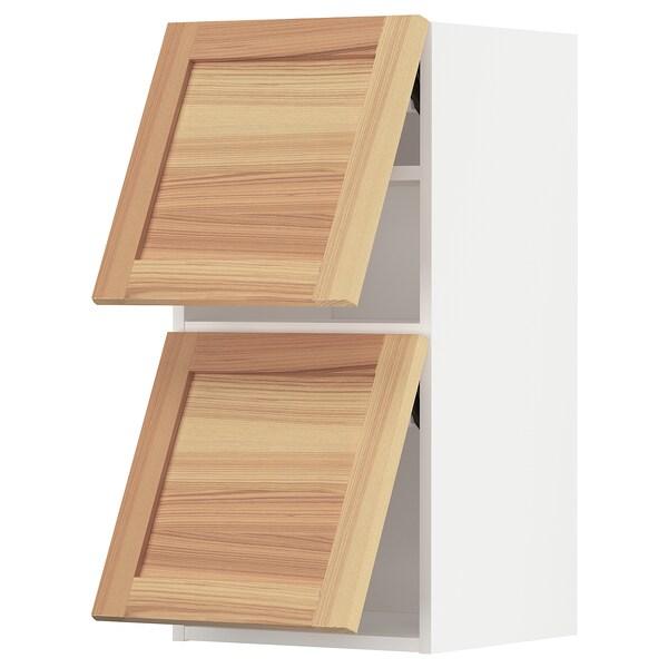 METOD خزانة حائط أفقية مع بابين زجاجية, أبيض/Torhamn رماد, 40x80 سم
