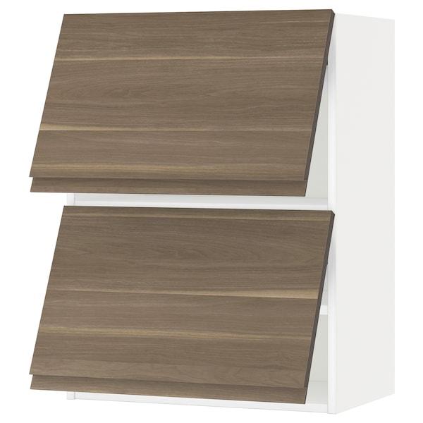 METOD خزانة حائط أفقية مع بابين زجاجية, أبيض/Voxtorp شكل خشب الجوز, 60x80 سم