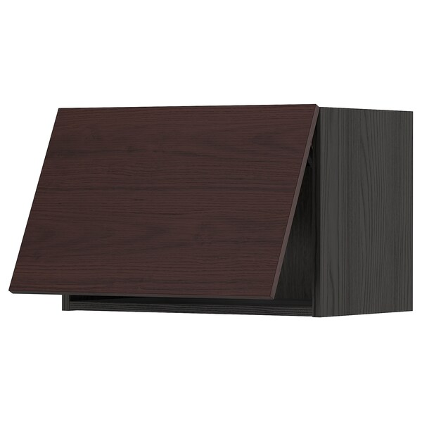 METOD Wall cabinet horizontal w push-open, black Askersund/dark brown ash effect, 60x40 cm