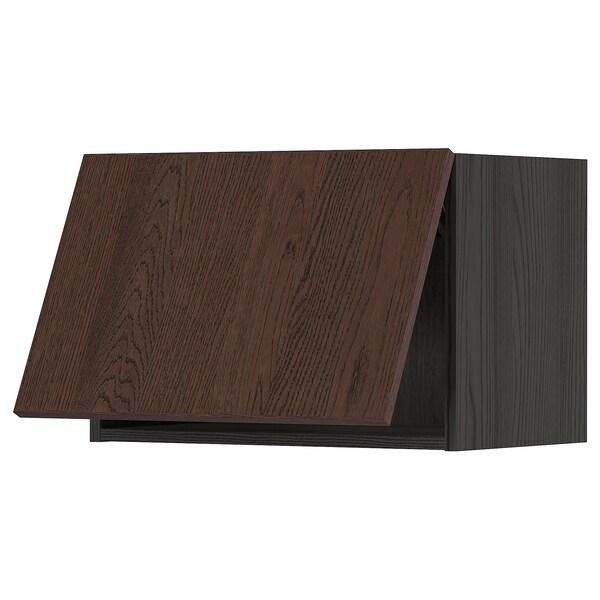METOD خزانة حائط أفقية مع آلية فتح بالقفل, أسود/Sinarp بني, 60x40 سم