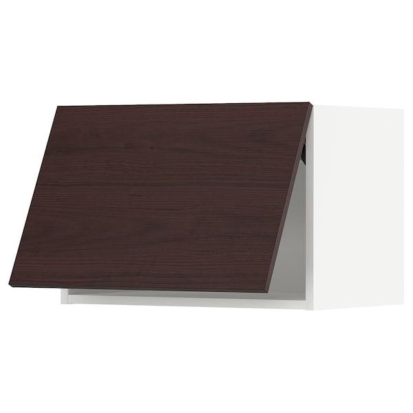 METOD Wall cabinet horizontal w push-open, white Askersund/dark brown ash effect, 60x40 cm