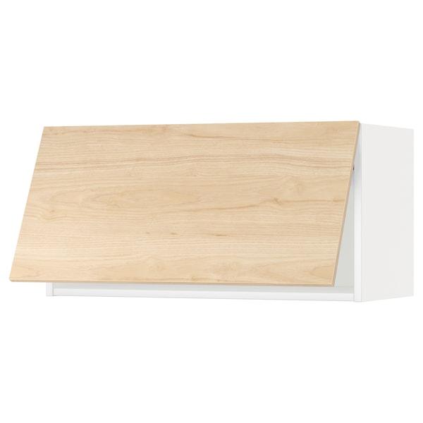 METOD خزانة حائط أفقية مع آلية فتح بالقفل, أبيض/Askersund مظهر دردار خفيف, 80x40 سم