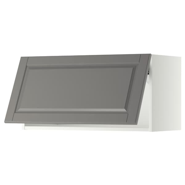 METOD خزانة حائط أفقية مع آلية فتح بالقفل, أبيض/Bodbyn رمادي, 80x40 سم