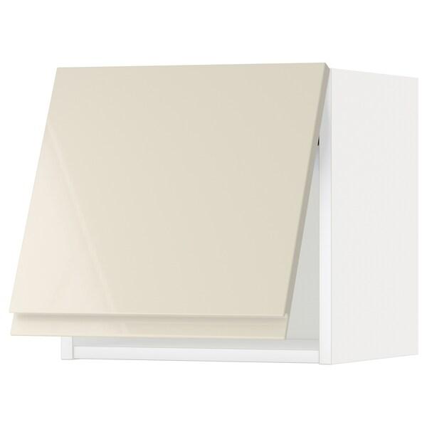 METOD Wall cabinet horizontal w push-open, white/Voxtorp high-gloss light beige, 40x40 cm