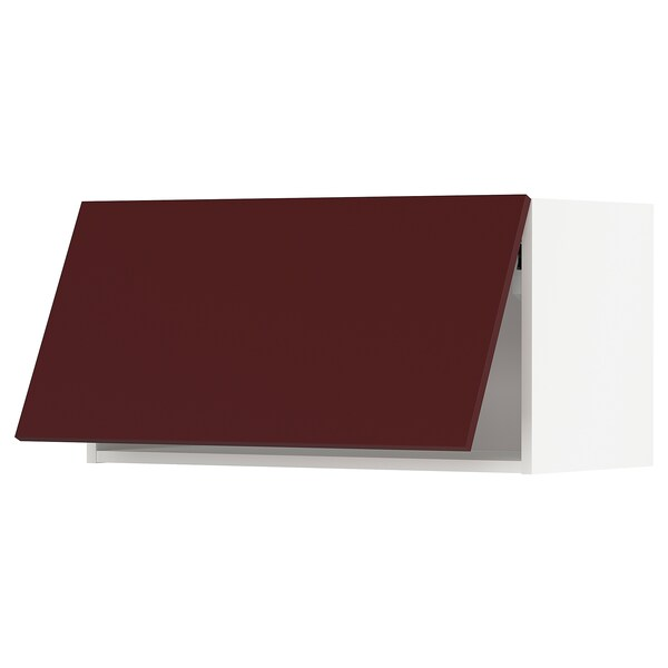 METOD خزانة حائط افقية, أبيض Kallarp/لامع أحمر-بني غامق, 80x40 سم