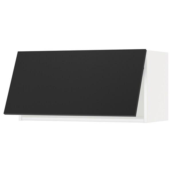 METOD خزانة حائط افقية, أبيض/Uddevalla فحمي, 80x40 سم