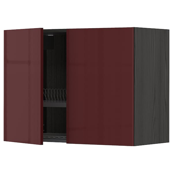 METOD Wall cabinet w dish drainer/2 doors, black Kallarp/high-gloss dark red-brown, 80x60 cm