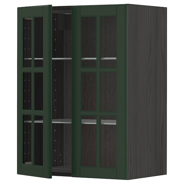 METOD Wall cabinet w shelves/2 glass drs, black/Bodbyn dark green, 60x80 cm