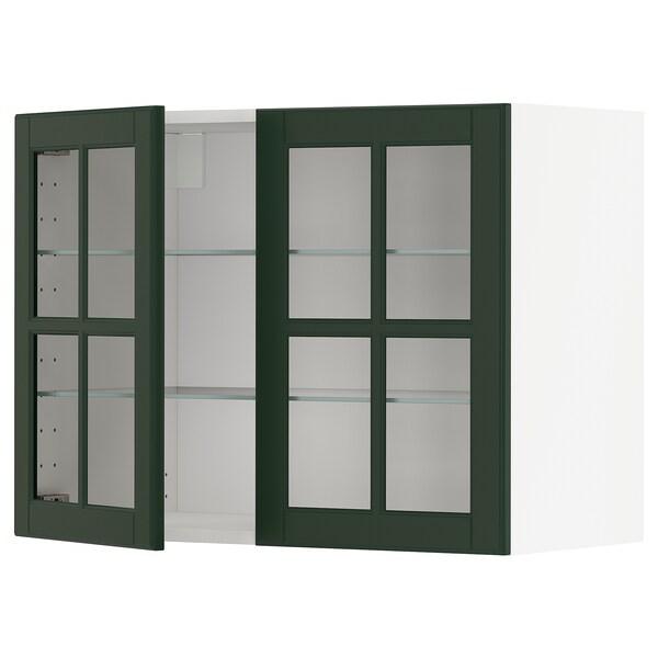 METOD خزانة حائط مع أرفف/بابين زجاجية, أبيض/Bodbyn أخضر غامق, 80x60 سم