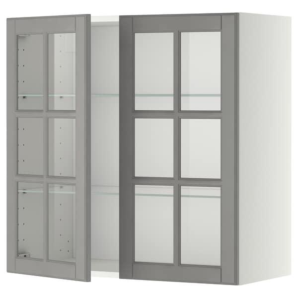METOD خزانة حائط مع أرفف/بابين زجاجية, أبيض/Bodbyn رمادي, 80x80 سم