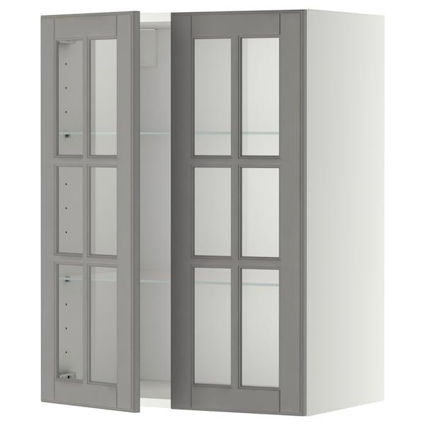 METOD خزانة حائط مع أرفف/بابين زجاجية, أبيض/Bodbyn رمادي, 60x80 سم