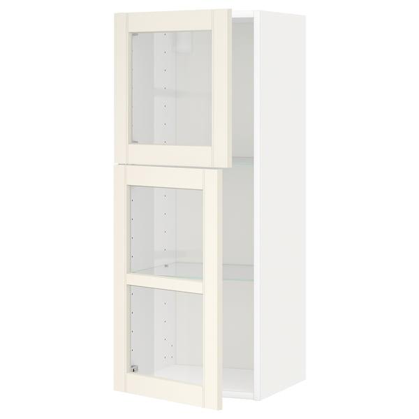 METOD Wall cabinet w shelves/2 glass drs, white/Hittarp off-white, 40x100 cm