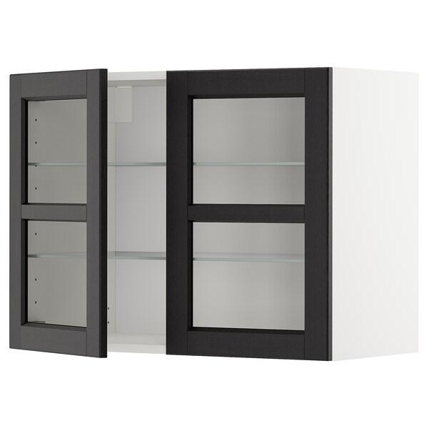 METOD خزانة حائط مع أرفف/بابين زجاجية, أبيض/Lerhyttan صباغ أسود, 80x60 سم