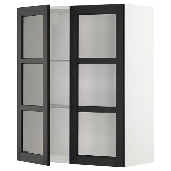 METOD خزانة حائط مع أرفف/بابين زجاجية, أبيض/Lerhyttan صباغ أسود, 80x100 سم