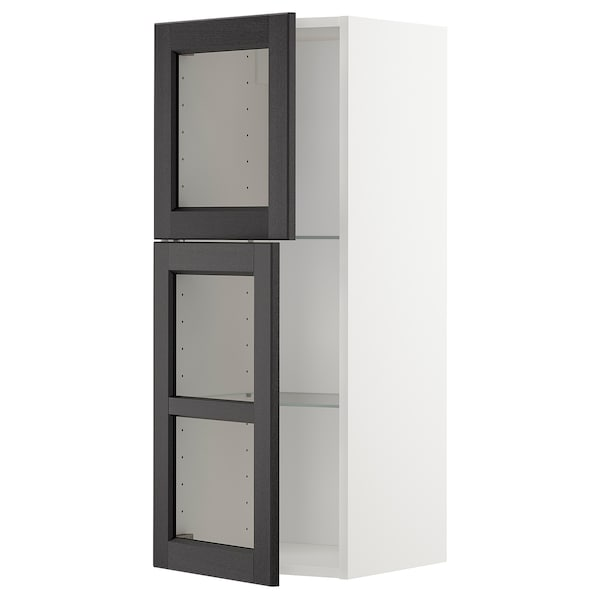 METOD Wall cabinet w shelves/2 glass drs, white/Lerhyttan black stained, 40x100 cm