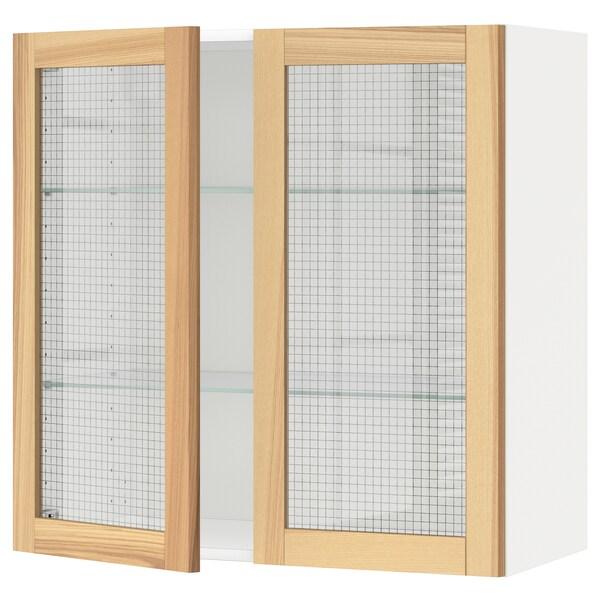 METOD خزانة حائط مع أرفف/بابين زجاجية, أبيض/Torhamn رماد, 80x80 سم