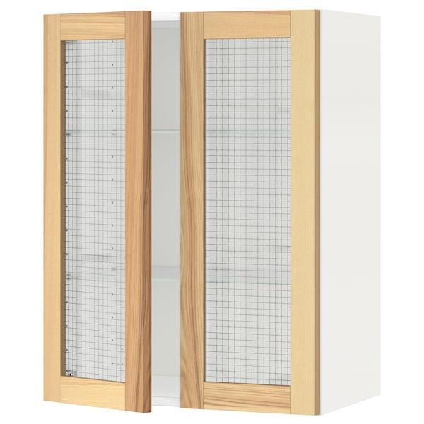 METOD خزانة حائط مع أرفف/بابين زجاجية, أبيض/Torhamn رماد, 60x80 سم