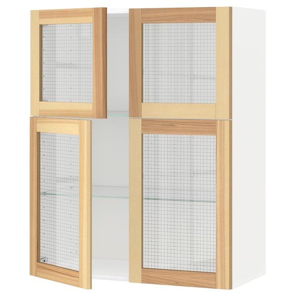 METOD Wall cabinet w shelves/4 glass drs, white/Torhamn ash, 80x100 cm