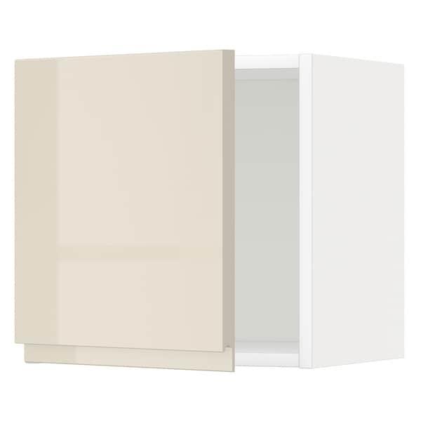 METOD خزانة حائط, أبيض/Voxtorp بيج فاتح لامع, 40x40 سم