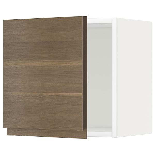 METOD Wall cabinet, white/Voxtorp walnut effect, 40x40 cm